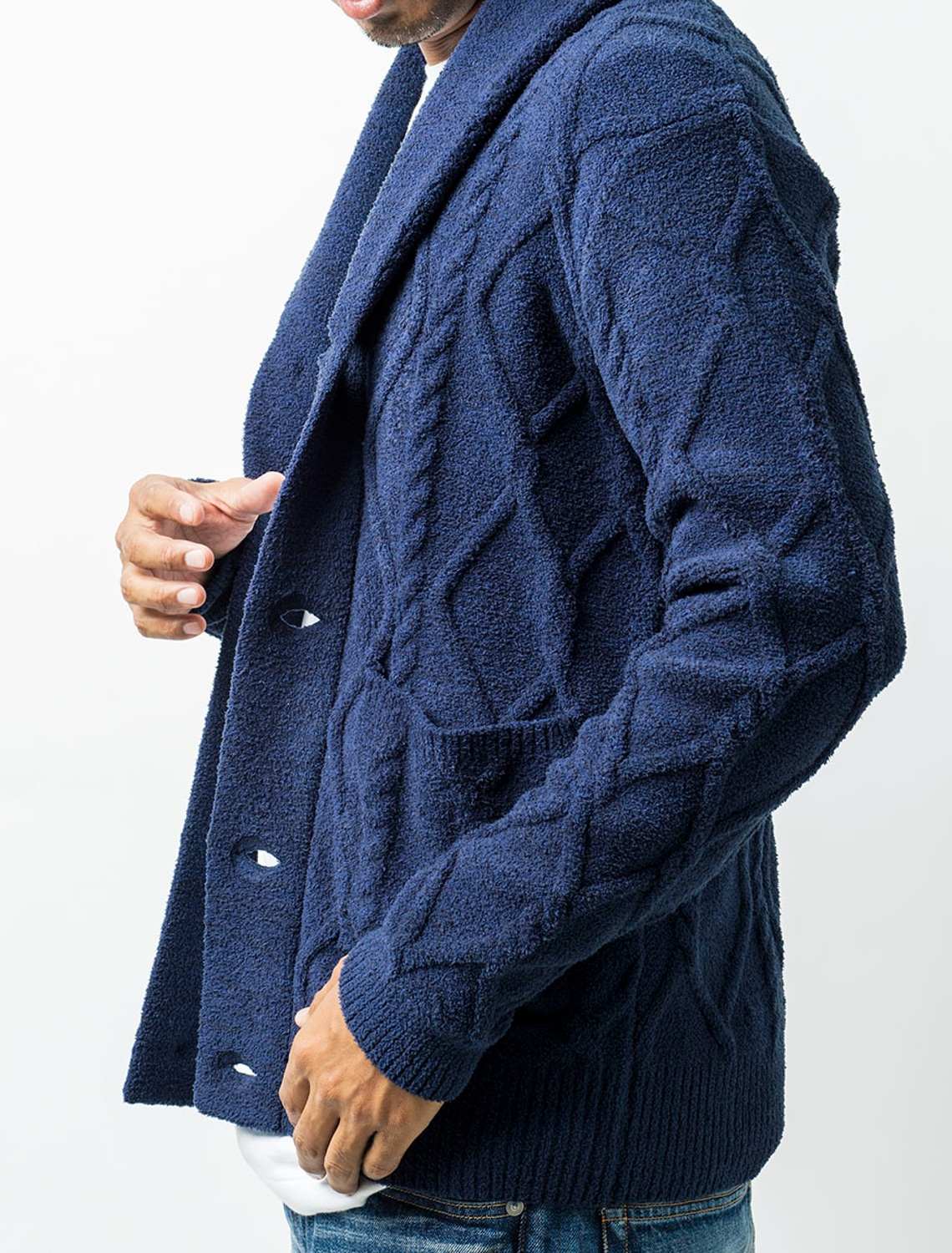 MCC2013 MENS CABLE SHAWL CARDIGAN